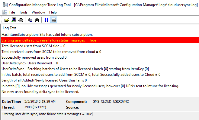 [Solved] SCCM Hybrid MDM User Sync Issue: Starting user delta sync, raise failure status messages = True